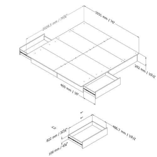 Full Queen King Size Black Wooden Platform Bed Frame 2 Under Bed Storage Drawers