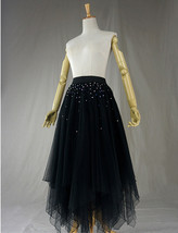 Black Tulle Layered Skirt High Low Tiered Tulle Skirt for Adults Layered Tutu  image 3