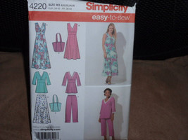 Simplicity 4220 Skirt, Pants, Pullover Dress in Two Lengths or Tunic and Bag Siz - $9.00