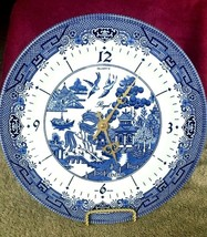 "Vintage ~ CHURCHILL England ~BlLUE WILLOW ~ Matching 10"" Dinner Plate CLOCK - $39.59"