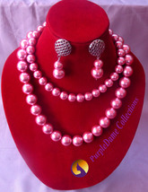 Two layered beaded chain with ear-rings, color pink with box to package - $60.00