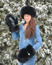 Genuine Saga Furs Black Fox Fur Handmade Mittens Gloves - $3.321,77 MXN