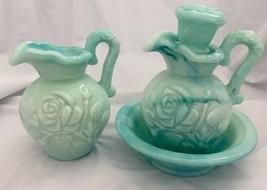Vintage Lot Avon Marbled Pitchers & Bowl....Rose Design - $8.59