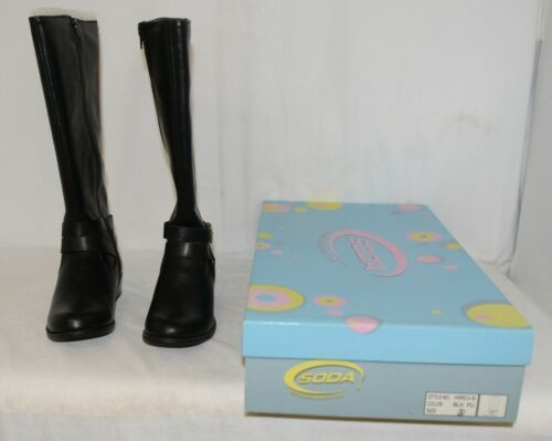 Soda HIROS Black Zip Up Riding Boot Gold Colored Accents Size 5 And Half