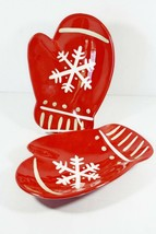 Set 2 Hallmark Red Mitten Serving Dishes Christmas Snack Kids Plates Sno... - $16.99