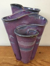 Vtg Mid Century Mod Bay Pottery Hand Thrown Blue Purple Glazed Wavy Flow... - $143.99