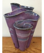 Vtg Mid Century Mod Bay Pottery Hand Thrown Blue Purple Glazed Wavy Flow... - $190.61 CAD