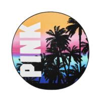 Victoria's Secret Pink Sunset Palm White Pink Logo Round Circle Beach Towel - $34.64