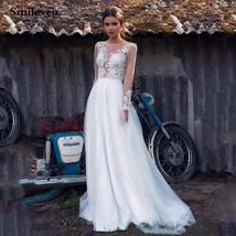 Long Sleeve Lace Embroidered Appliques Deep Illusion V-neck Boho A Line Wedding  image 1