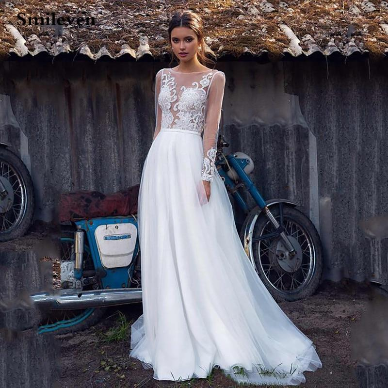 Leve boho wedding dress long sleeve a line lace bride dresses with appliques wedding bride gowns