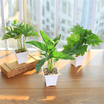 Artificial Simulated Plants Rich leaf Grass With White Plastic Flowerpot Decor - $8.09