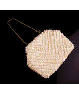 Vintage sequin purse /  iridescent sequins and pearl beads - Made in Hon... - $65.00