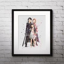 Kirito, Asuna and Yui, Sword Anime painting Printable Watercolor Art, Print - $3.50
