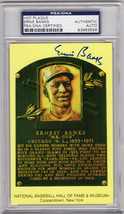 Ernie Banks Signed National Baseball Hall of Fame Plaque Card - (PSA Enc... - $155.00