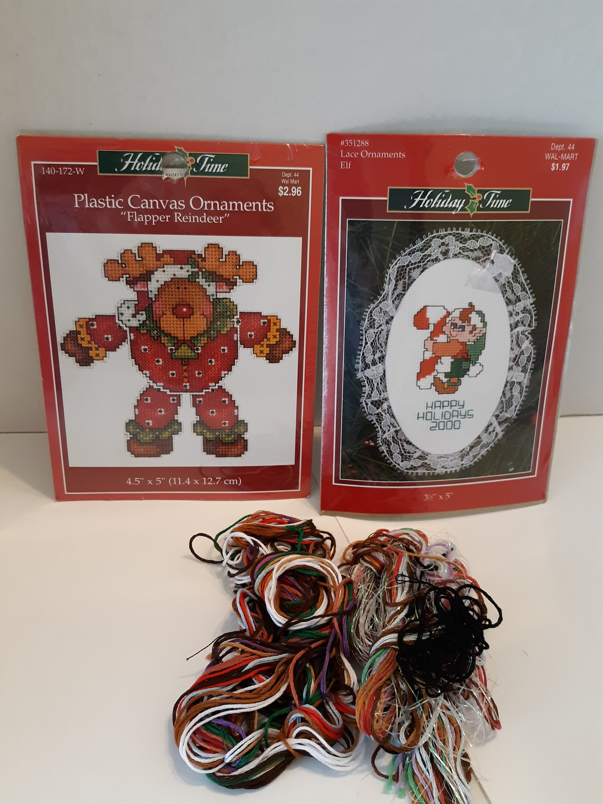 Primary image for Holiday Time lot of 2 Ornaments stitch kits Reindeer, Elf Never Opened