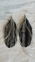 """3""""VTG 80'S PAINTED BLACK CROW FEATHER EARRINGS,NATIVE AMERICAN INSPIRED,... - €4,16 EUR"""