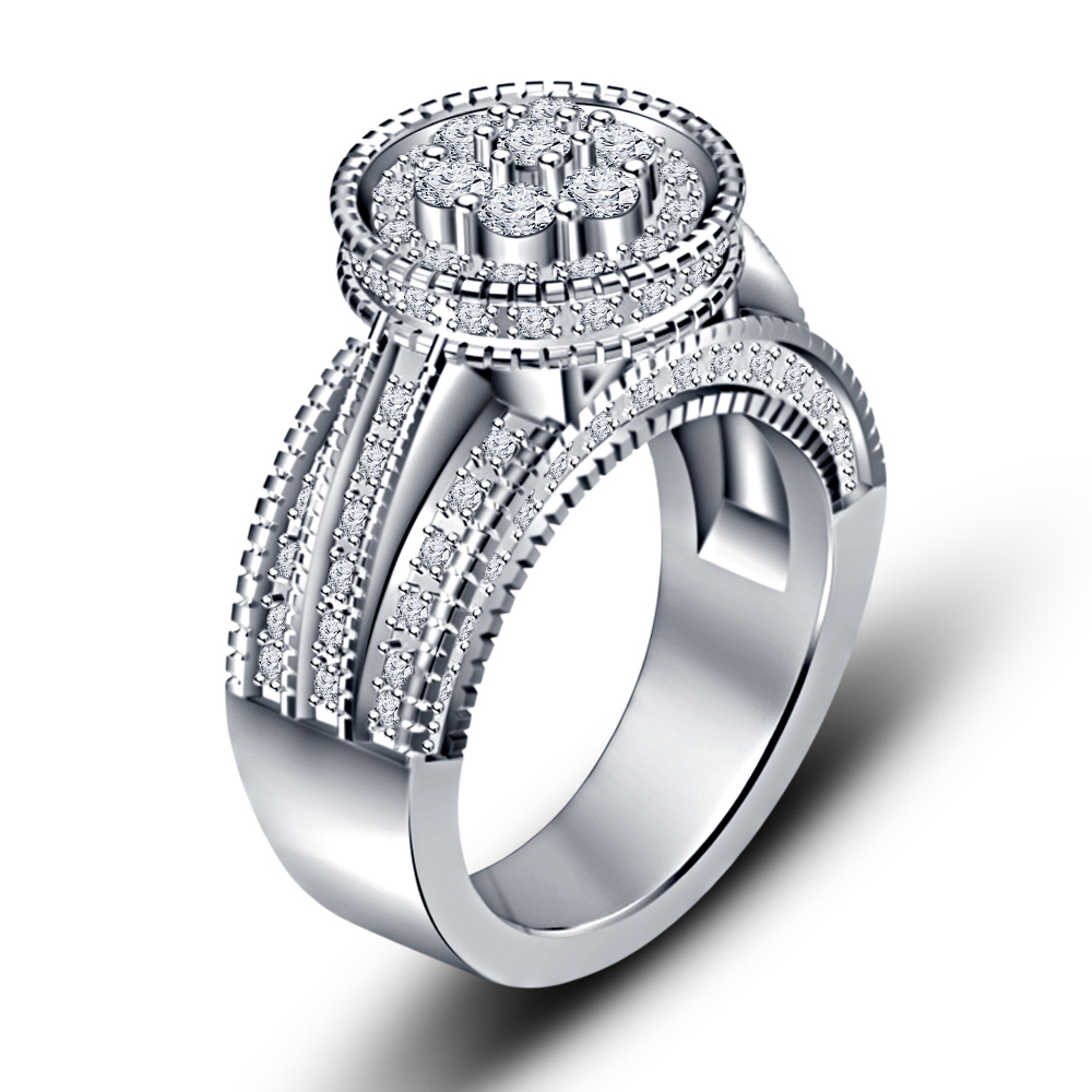 Primary image for 14k White Gold Over 925 Silver White Cubic Zirconia Wedding Ring & Free Shipping