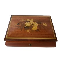 Sorrento Italy wood inlay Music Box Floral brown Marquetry - $29.00