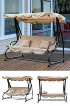 3 Seater Swing Chair Bed Outdoor Garden Patio Hanging Bench Canopy Pillo... - $361.24