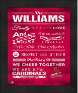 """Personalized St. Louis Cardinals """"Family Cheer"""" 13 x 16 Framed Print - $39.95"""