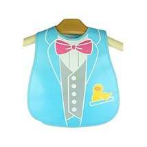 Cute Cartoon Tie Pattern Baby Waterproof Bib (Blue/Gray)