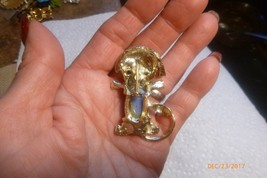 Vintage Goldtone Blue Jelly Belly Cabochon Faux Ruby Figural Dog Pin Brooch image 2