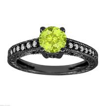 1.14 CARAT PERIDOT AND DIAMOND ENGAGEMENT RING VINTAGE STYLE 14K BLACK GOLD - $1,175.00