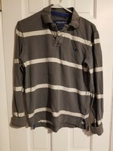 Men's Grey/White Striped American Eagle Outfitters  Long Sleeve Shirt Si... - $14.80