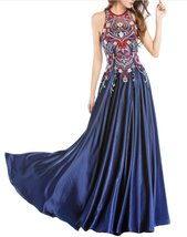 Womens 2018 Halter Embroidery Navy Homecoming Dresses Open Back Long Pro... - $128.98