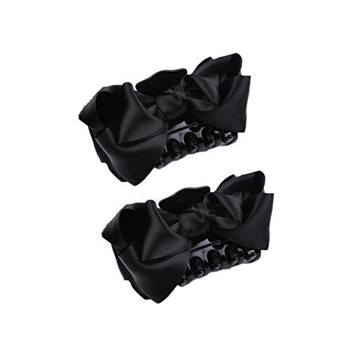 [Set Of 2]Handmade Mesh Bowknot Jaw Clip Hair Styling Claws, 3.7 inches, BLACK