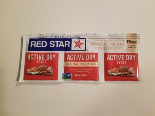 Primary image for RED STAR YEAST 3 Packets, 1 Strip, 1/4 oz each NATURAL ACTIVE DRY YEAST FREESHIP