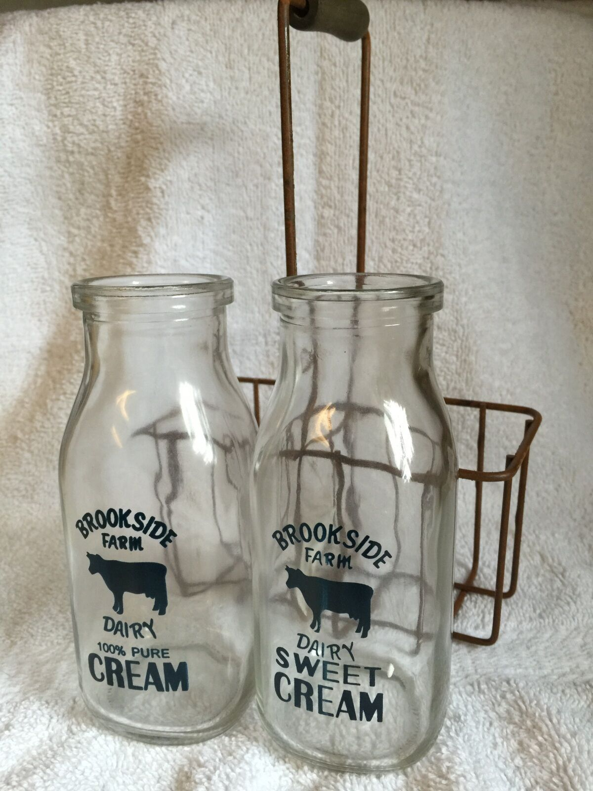 2 Cream Bottles with Carrier Brookside Farm Dairy New Vintage Style Country NIP