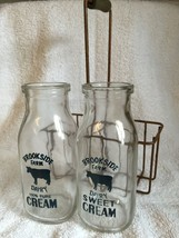 2 Cream Bottles with Carrier Brookside Farm Dairy New Vintage Style Country NIP image 1