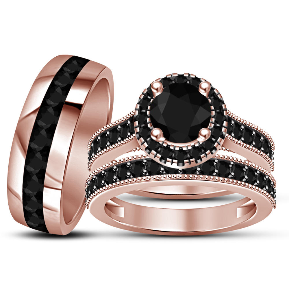 Primary image for 14k Rose Gold Finish 925 Sterling Silver His Her Wedding Diamond Trio Ring Set