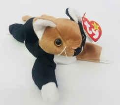 """Ty Chip Cat Beanie Babies 9"""" Date Of Birth January 26 1996 Black Lying D... - $13.99"""