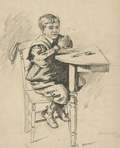 Stanley Ashton - Signed Early 20th Century Pen and Ink Drawing, Soup - $38.88