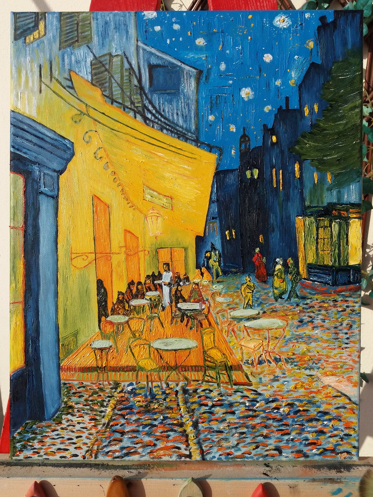 Primary image for Café Terrace at Night by Vincent Van Gogh - Oil Painting Canvas 45x35cm