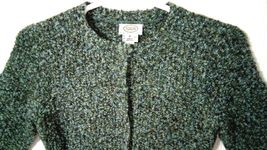 Talbots Petites Women's M Blue Green Wool Snap Buttons Sweater Cardigan image 7