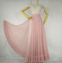 Pink Layered Tulle Ruffle Skirt Pink Bridesmaid Tulle Skirt Plus Size image 1