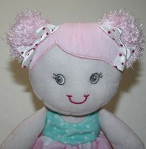 """Baby Starters Plush Doll 12"""" Little Girl Dolly White Pink Aqua Pigtails ... - $29.88"""