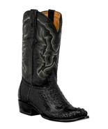 Mens Black Western Boots Crocodile Hornback Skin Real Leather Cowboy Round - €236,23 EUR