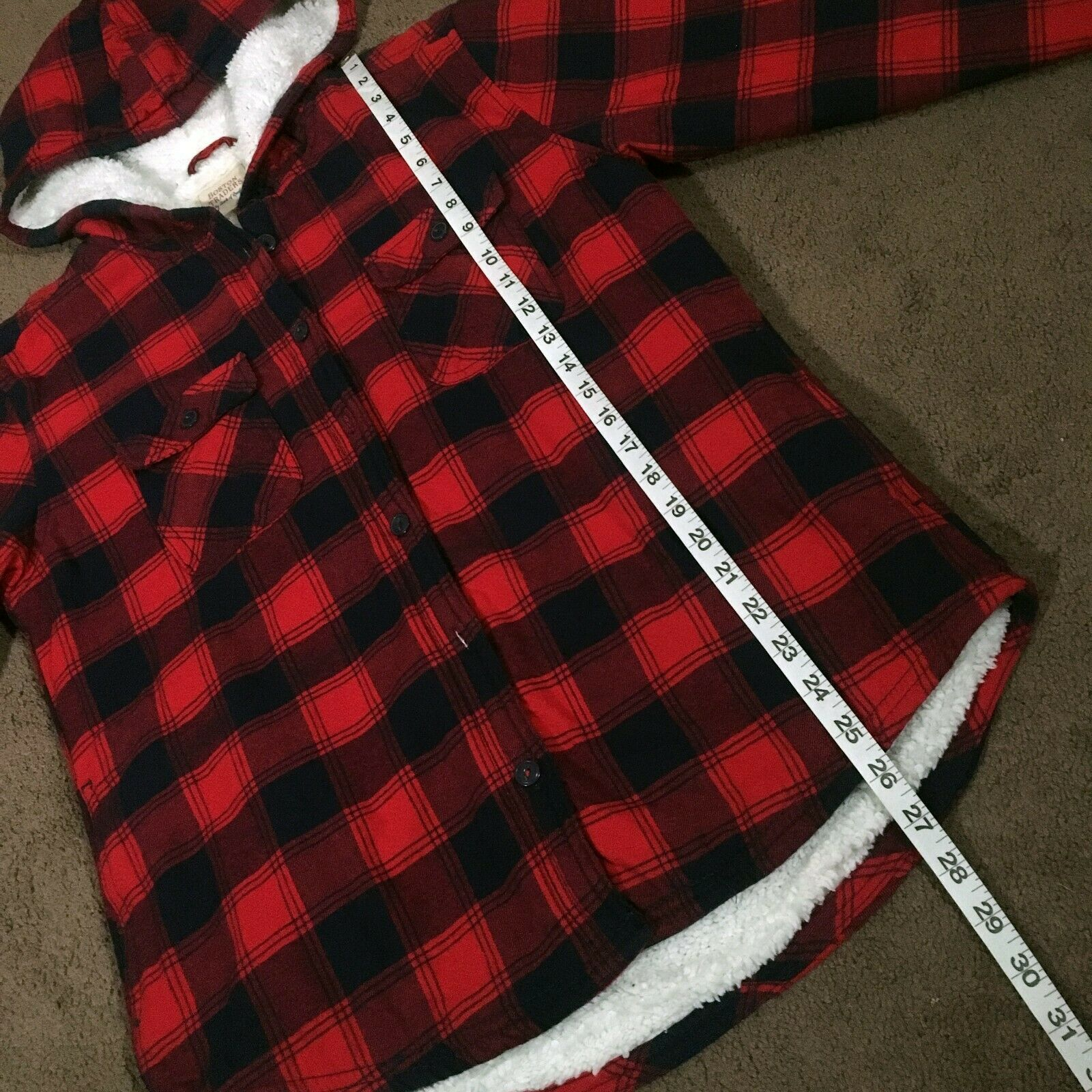 Boston Traders Women's TANGO RED Sherpa Lined Hooded Flannel Shirt Jacket MEDIUM