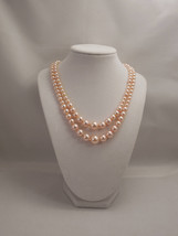 Two Strands, Embossing Look, Peach Pink Glass Pearl Necklace - $40.00