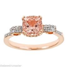 WOMENS 1.37 CARAT MORGANITE CUSHION CUT DIAMOND RING 925 STERLING SILVER... - £228.08 GBP