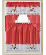 "3 pc. Embroidery Curtains Set: 2 Tiers (30""x 36"") & Swag (60"" x 36"") ROO... - $19.79"