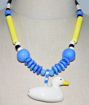 Vintage RUBY Z CANDACE LOHEED Multi-Color Ceramic Duck Necklace - $123.75