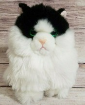 "Aurora Plush Cat Stuffed Animal Mittens Tuxedo Black White Green Eyes 7"" New - $19.39"