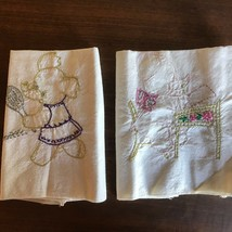 2 Vintage Tea  Hand Towel Embroidered  ELEPHANTS Tennis Student Teacher - $18.81