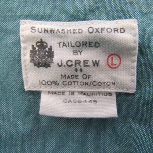 J Crew Camisa Hombre Talla L L VERDE Sunwashed Oxford