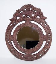 Vintage Large Round Mirror Hand Carved Wood Ornate Frame Floral - $74.25